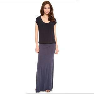 Monrow Crepe Woven Short Sleeve Jersey Maxi Dress